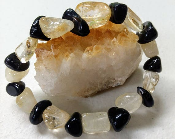 Citrine & Black Agate Stretch Bracelet