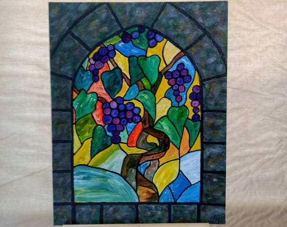 Grapevine Stained Glass Window Acrylic Painting