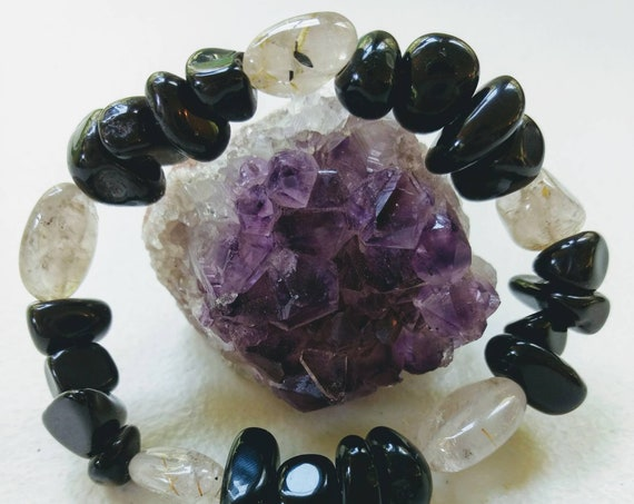 Rutilated Quartz & Black Agate Stretch Bracelet