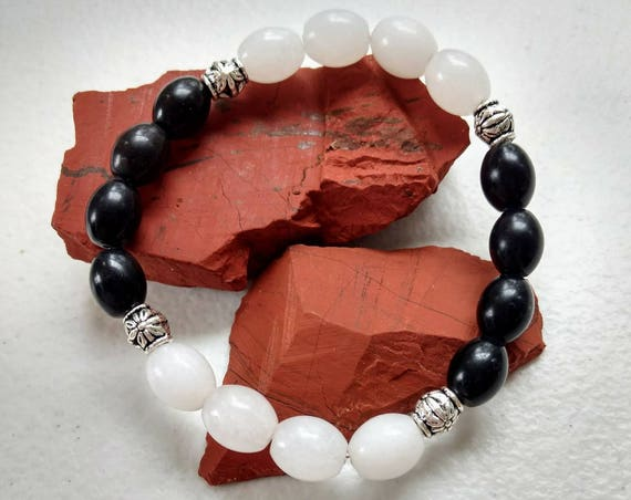 Black Jasper & Snow Quartz Stretch Bracelet