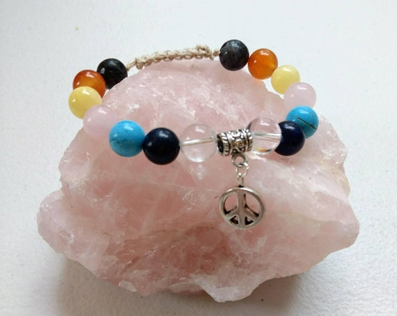 Chakra Balancing Peace Sign Adjustable Shamballa Bracelet