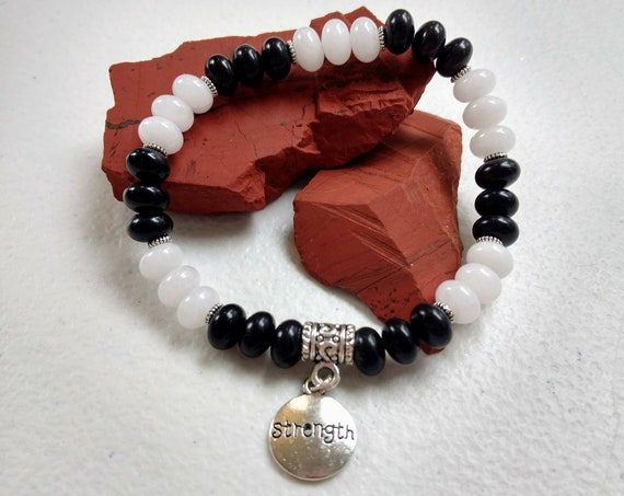 Black Jasper & Snow Quartz Stretch Bracelet with Strength charm