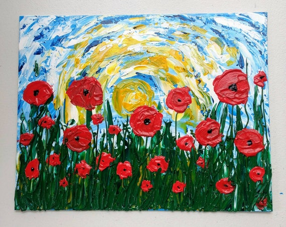 "Poppy Flowers Impasto Acrylic Painting ""Popping Poppies"""