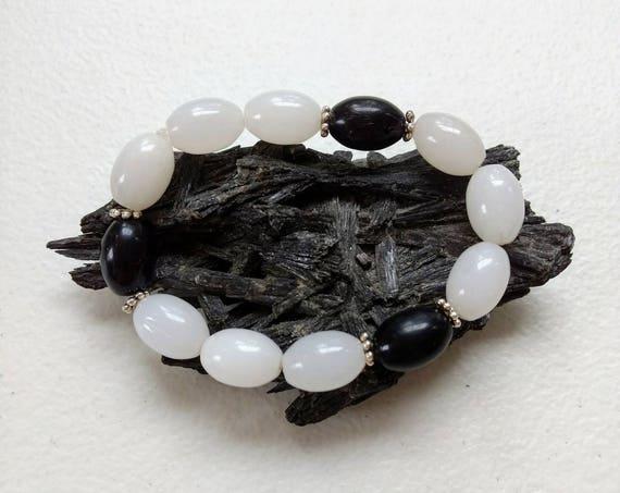Black Jasper & Snow Quartz Stretch Bracelet