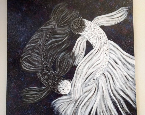 Yin Yang Betta Fish Space Crystal Embellished Acrylic Painting