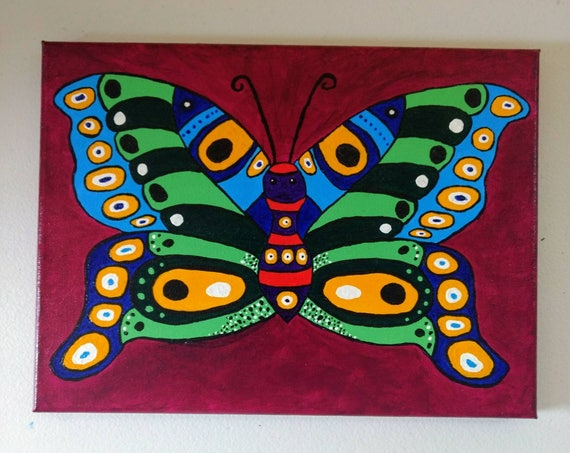 "Original Butterfly Painting ""Colorful Butterfly"""