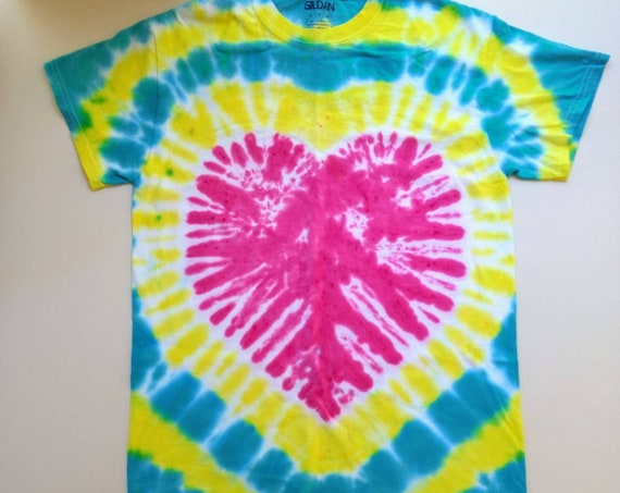 Tie Dyed Pink Fuchsia Heart Adult T-Shirt with Teal & Yellow