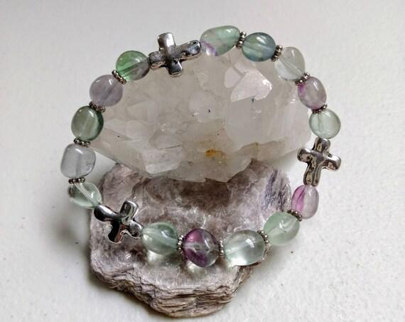 Rainbow Fluorite Cross Stretch Bracelet