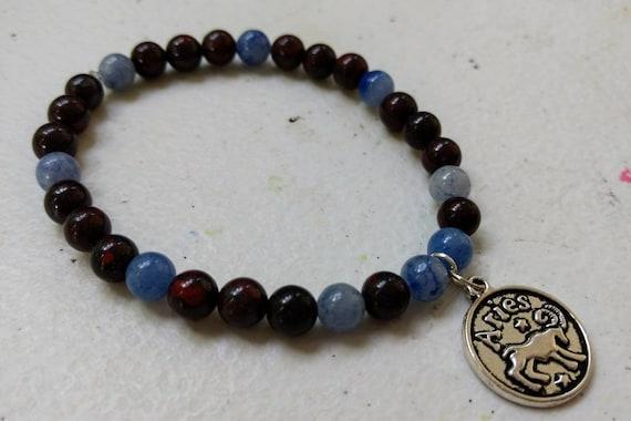Blue Aventurine and Brecciated Jasper Stretch Bracelet with Aries Charm