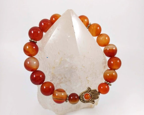 Red Agate with Hand of God Charm Stretch Bracelet
