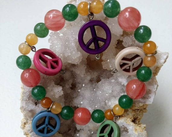 Peace Sign Charm Stretch Bracelet
