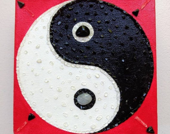 Yin Yang Symbol Crystal Painting