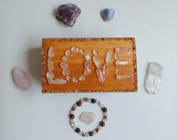 Featured listing image: Heart Chakra Bracelet Meditation Box Set/Reiki/Rose Quartz/Peridot/Unakite/Amethyst/Quartz Point (Tantric Twin/Soulmate)/Blue Lace Agate