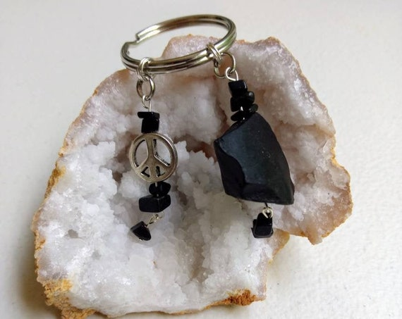 Black Jasper & Peace Sign Key Chain