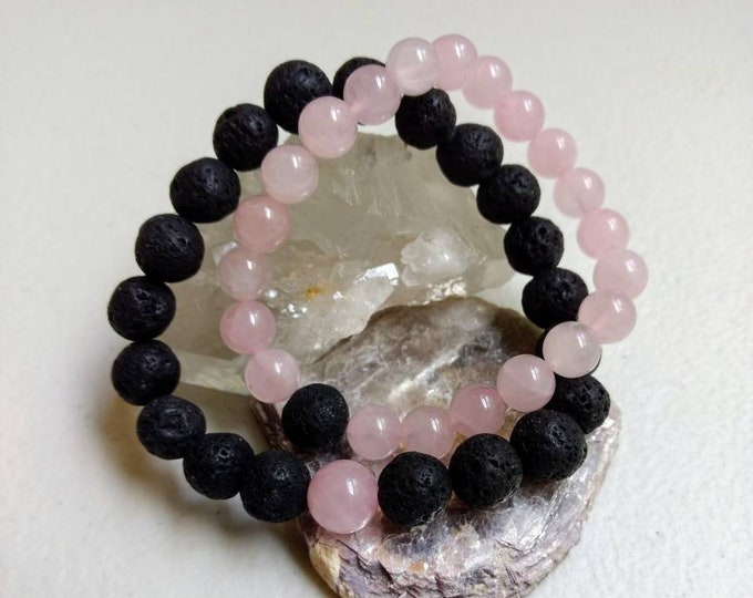 Featured listing image: Black Lava Stone & Rose Quartz Couples Bracelet Set/Distance Bracelet Set/Reiki/Grounding/Love/Root Chakra/Heart Chakra/Love