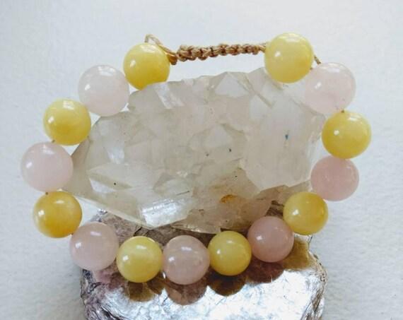 Rose Quartz and Yellow Jasper Adjustable Shamballa Hemp Cord Bracelet