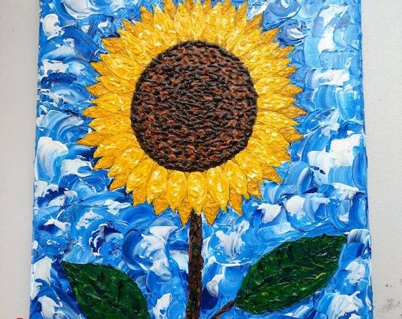 "Original Sunflower Impasto Painting ""Shine Anyway"""