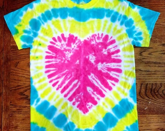 Heart Tie Dyed Adult Small T-Shirt