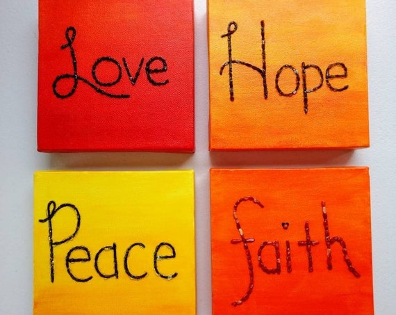 Love, Faith, Hope, and Peace Inspirational Crystal Embellished Painting Set