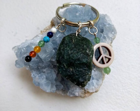 Green Aventurine Peace Sign Chakra Balancing Rainbow Key Chain