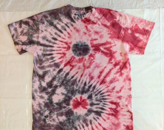 Black, Red, and Pink Yin Yang Symbol Tie Dye T-Shirt