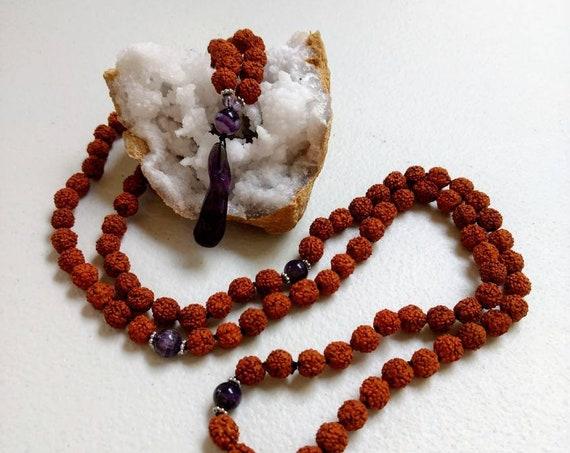 Rudraksha & Amethyst Mala/Prayer Beads