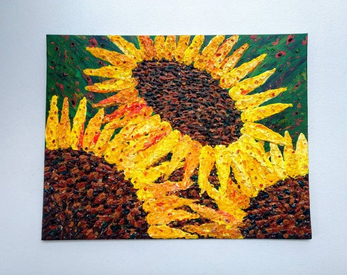 Featured listing image: Sunflower Crystal Embellished Impasto Acrylic Painting/14x11/Pyrite, Citrine, Onyx, Tigers Eye, Garnet, Agate, Aventurine, & Peridot