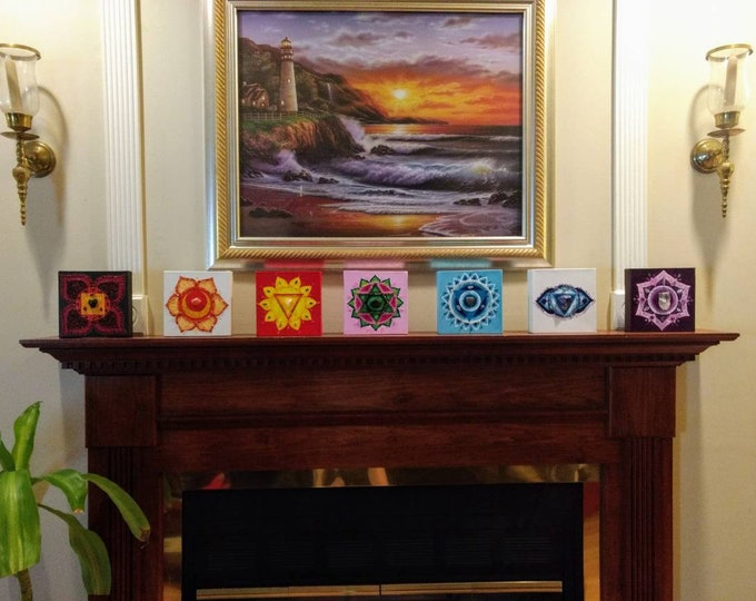 Featured listing image: Chakra Symbol Original Crystal 7 piece Painting Set/Reiki/Crystal Grid/Meditaion/Acrylic/Canvas/Healing Art/