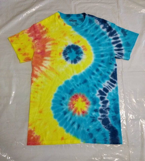 Yin Yang Tie Dyed Adult Small T-shirt