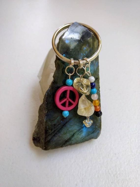Citrine Rainbow Chakra Balancing Peace Sign Keychain