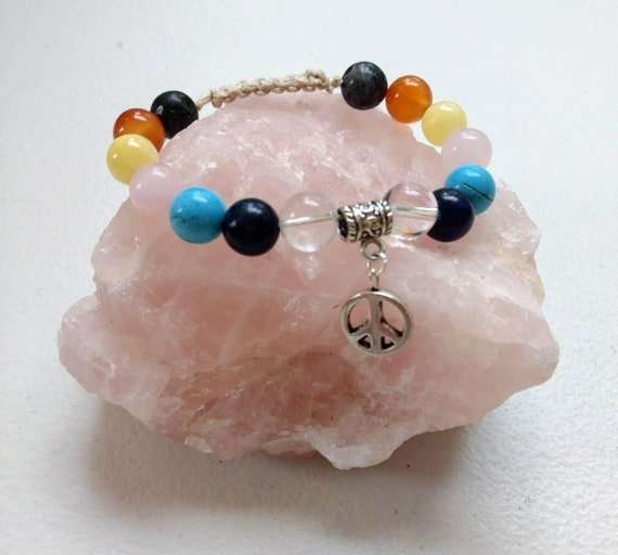Chakra Balancing Peace Sign Adjustable Shamballa Bracelet