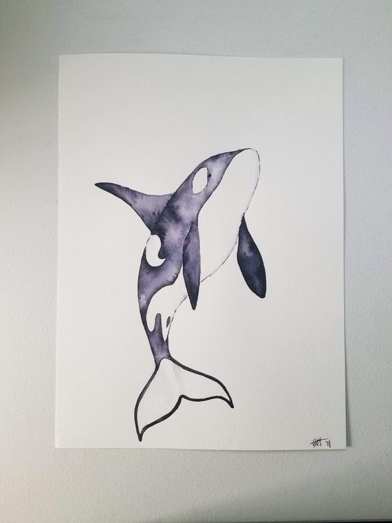 Original Orca Killer Whale Watercolor Painting