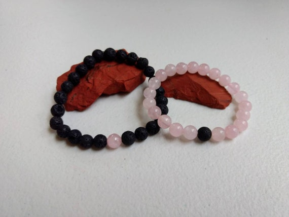 Black Lava Stone & Rose Quartz Couples Stretch Bracelet Set