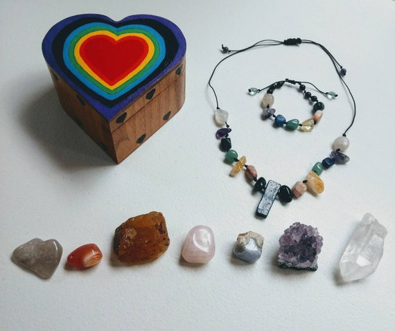 Chakra Balancing Necklace, Bracelet, and Rainbow Heart Wood Box Meditation Set