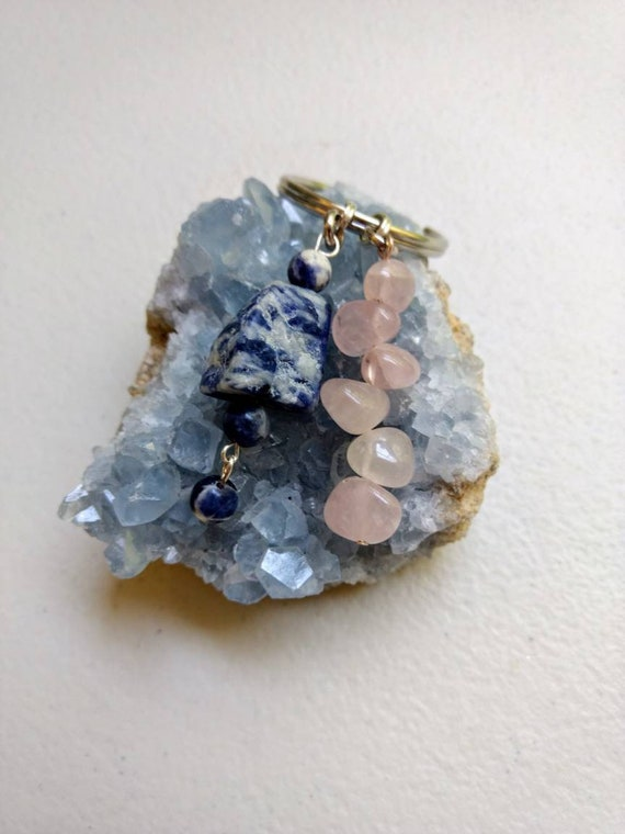 Sodalite and Rose Quartz Key Chain