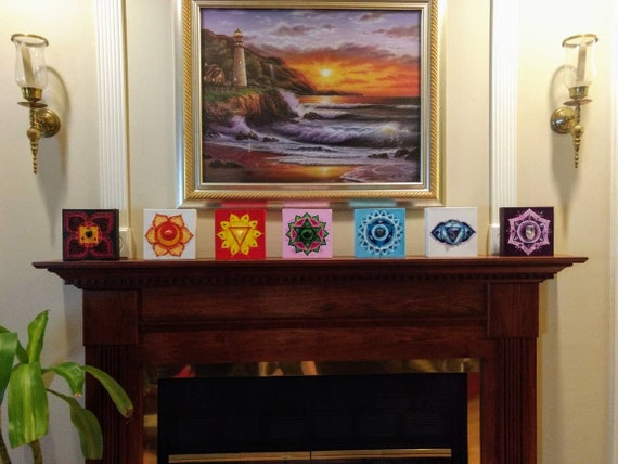 Crystal embellished Chakra Symbol Original 7 piece Painting Set