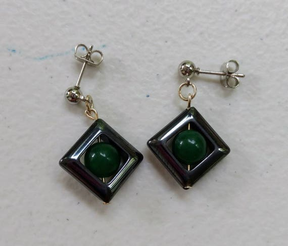 Green Aventurine & Hematite Earrings