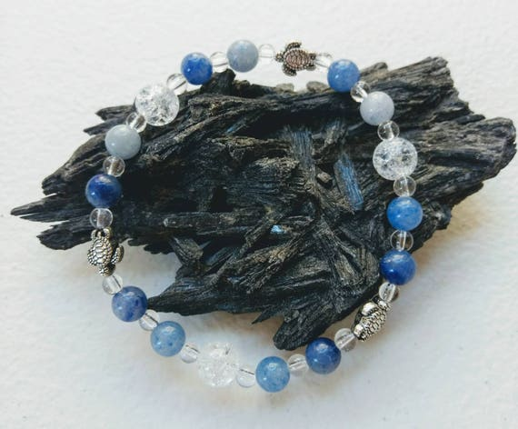 Quartz, Crackle Quartz, Blue Aventurine, and Sea Turtle Stretch Bracelet