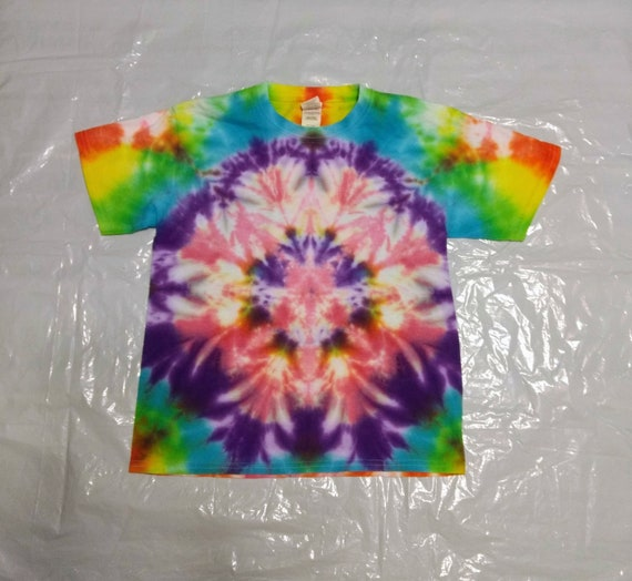 Tie Dyed Rainbow Flower Childrens Medium T-Shirt with Yellow, Pink, Blue, Green, and Purple