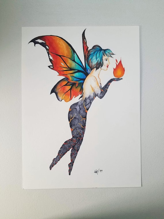 "Original ""Fire Faerie"" Watercolor Painting"