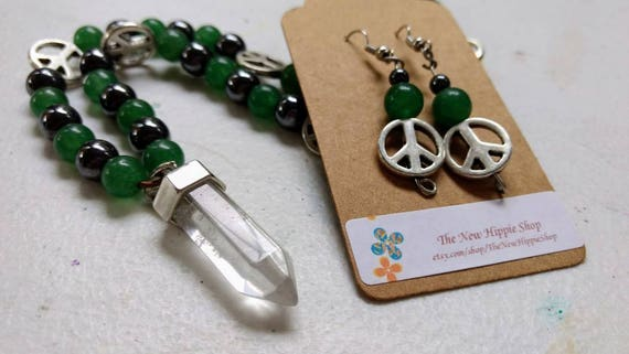 Green Aventurine, Hematite & Clear Quartz Point Necklace and Earring Peace Sign Set