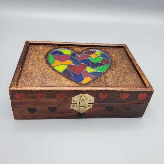 Stained Glass Rainbow Hearts Wood Box