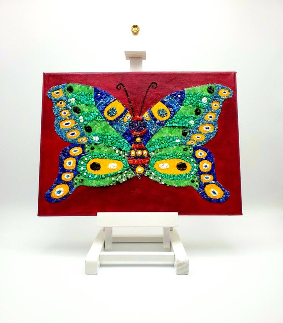 """Original Crystal Embellished Butterfly Painting """"Colorful Butterfly"""""""