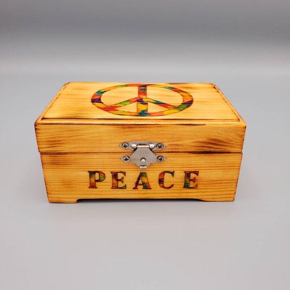 Hand Painted and Wood Burned Tie Dyed Rainbow Peace Sign Wood Box/Stash Box/Jewelry Box/Storage Box