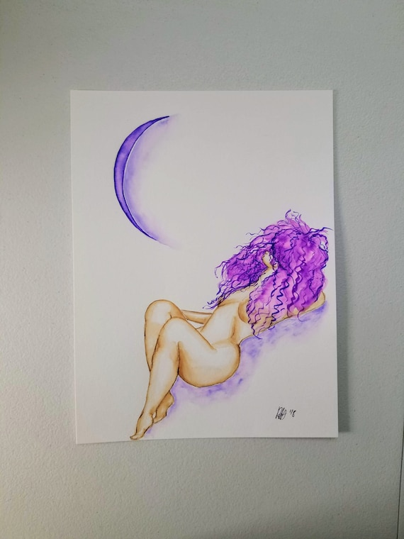 "Original Nude Woman with Crescent Moon Watercolor Painting ""Lilith"""