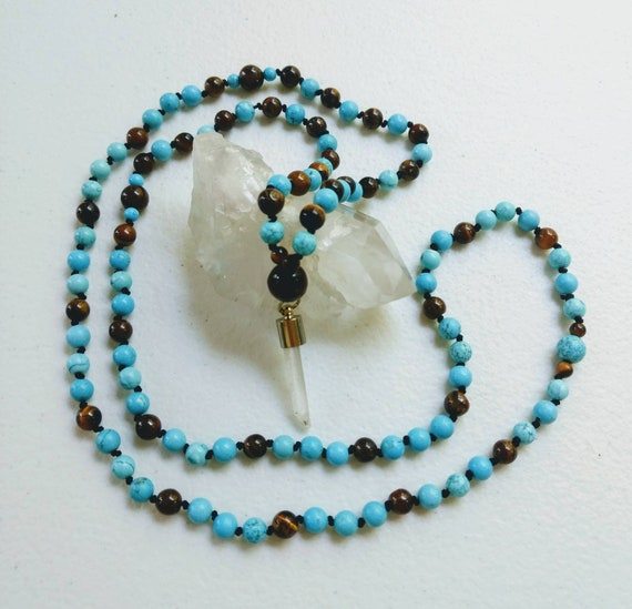 Tigers Eye, Turquoise Howlite & Clear Quartz Point Mala/Prayer Beads/Necklace/Reiki/Knotted/Depression/Anxiety/Yin-Yang Balancing/Meditation