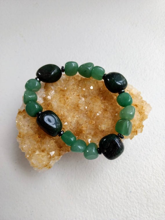 Green Aventurine and Hematite Stretch Bracelet