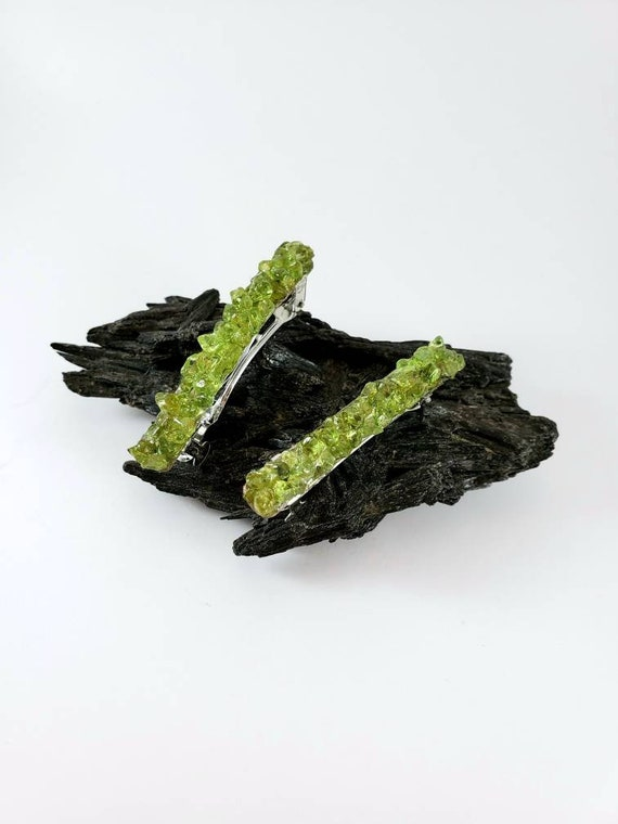 Peridot Crystal French Barrette Set