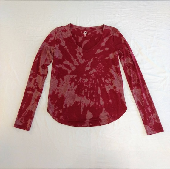 Reverse Tie Dyed Long Sleeve Maroon Womens XX Small Tshirt
