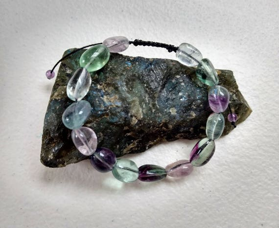 Rainbow Fluorite and Amethyst Adjustable Shamballa Bracelet